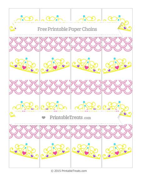 Free Pastel Bubblegum Pink Fish Scale Pattern Princess Tiara Paper Chains