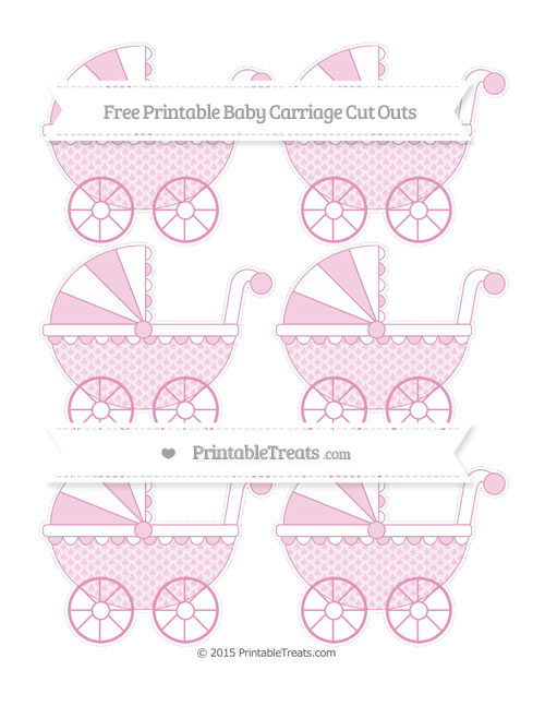 Free Pastel Bubblegum Pink Fish Scale Pattern Small Baby Carriage Cut Outs