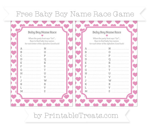 Free Pastel Bubblegum Pink Heart Pattern Baby Boy Name Race Game