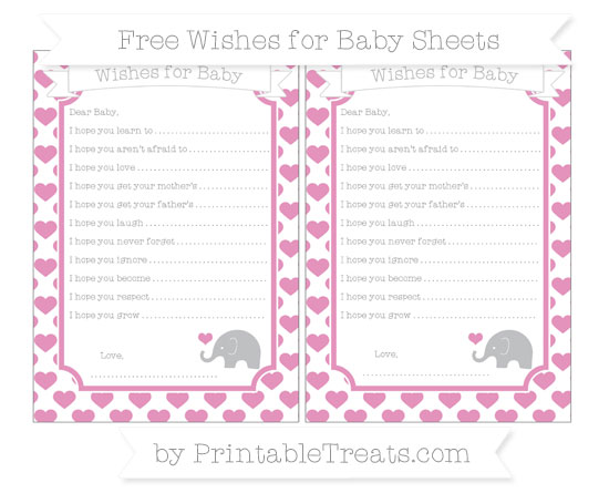Free Pastel Bubblegum Pink Heart Pattern Baby Elephant Wishes for Baby Sheets