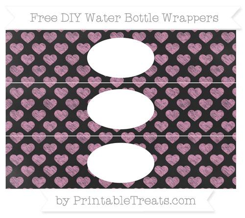 Free Pastel Bubblegum Pink Heart Pattern Chalk Style DIY Water Bottle Wrappers
