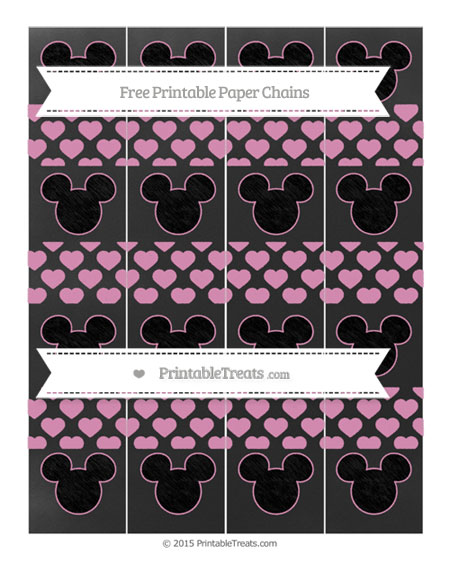 Free Pastel Bubblegum Pink Heart Pattern Chalk Style Mickey Mouse Paper Chains
