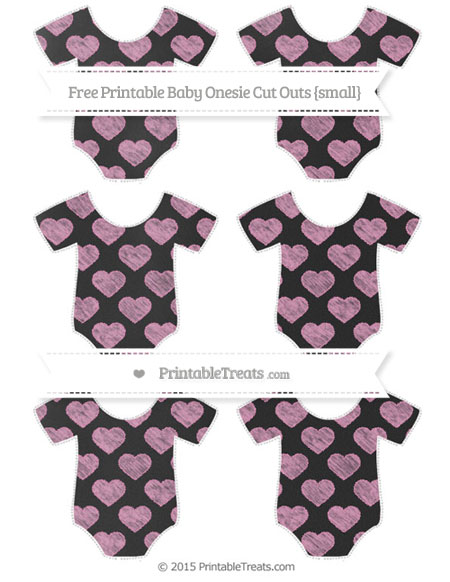 Free Pastel Bubblegum Pink Heart Pattern Chalk Style Small Baby Onesie Cut Outs