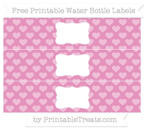 Free Pastel Bubblegum Pink Heart Pattern Water Bottle Labels