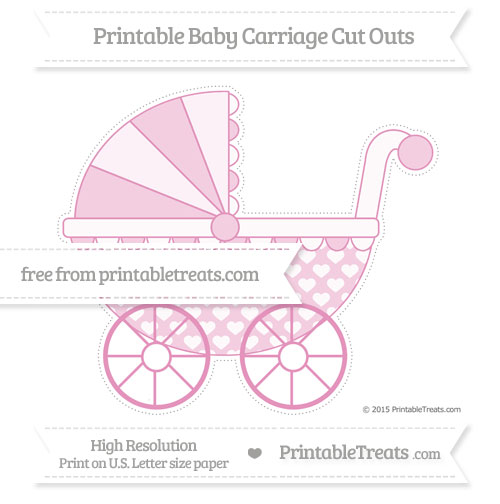 Free Pastel Bubblegum Pink Heart Pattern Extra Large Baby Carriage Cut Outs