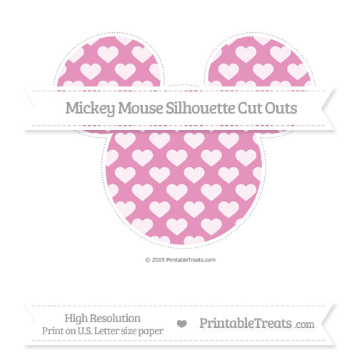 Free Pastel Bubblegum Pink Heart Pattern Extra Large Mickey Mouse Silhouette Cut Outs