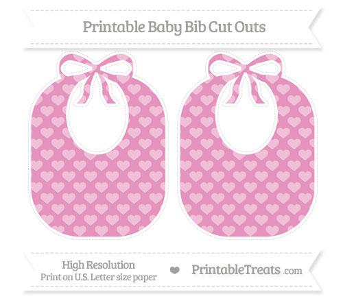 Free Pastel Bubblegum Pink Heart Pattern Large Baby Bib Cut Outs