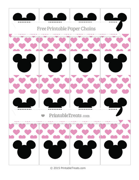 Free Pastel Bubblegum Pink Heart Pattern Mickey Mouse Paper Chains