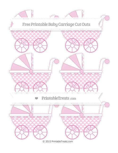 Free Pastel Bubblegum Pink Heart Pattern Small Baby Carriage Cut Outs