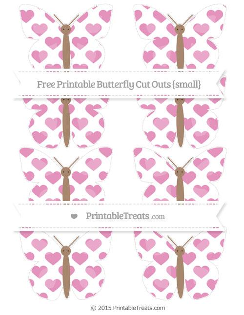 Free Pastel Bubblegum Pink Heart Pattern Small Butterfly Cut Outs
