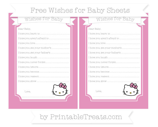 Free Pastel Bubblegum Pink Hello Kitty Wishes for Baby Sheets