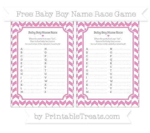 Free Pastel Bubblegum Pink Herringbone Pattern Baby Boy Name Race Game