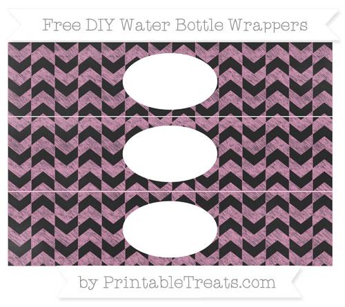 Free Pastel Bubblegum Pink Herringbone Pattern Chalk Style DIY Water Bottle Wrappers