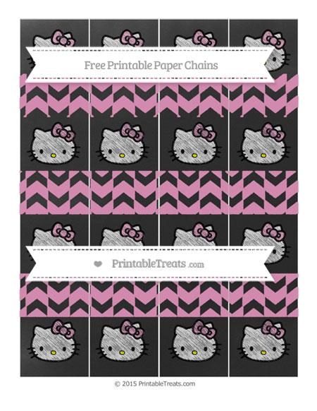 Free Pastel Bubblegum Pink Herringbone Pattern Chalk Style Hello Kitty Paper Chains