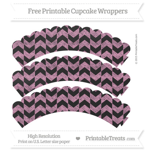 Free Pastel Bubblegum Pink Herringbone Pattern Chalk Style Scalloped Cupcake Wrappers