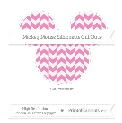 Free Pastel Bubblegum Pink Herringbone Pattern Extra Large Mickey Mouse Silhouette Cut Outs