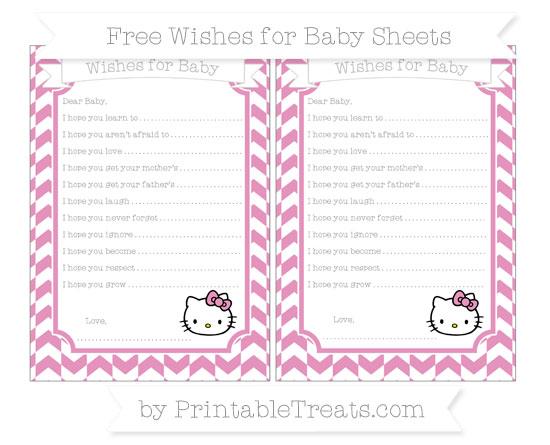 Free Pastel Bubblegum Pink Herringbone Pattern Hello Kitty Wishes for Baby Sheets