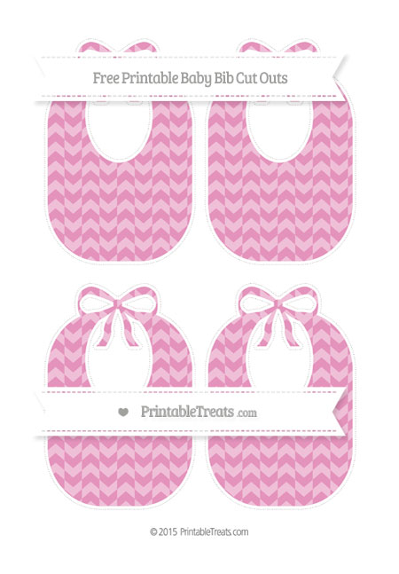 Free Pastel Bubblegum Pink Herringbone Pattern Medium Baby Bib Cut Outs