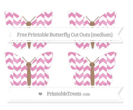 Free Pastel Bubblegum Pink Herringbone Pattern Medium Butterfly Cut Outs