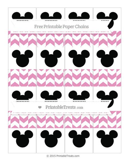 Free Pastel Bubblegum Pink Herringbone Pattern Mickey Mouse Paper Chains