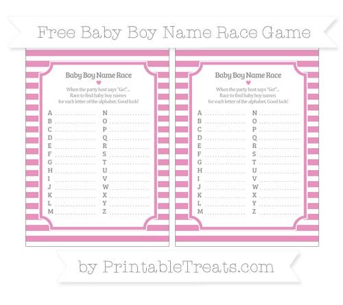 Free Pastel Bubblegum Pink Horizontal Striped Baby Boy Name Race Game