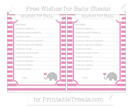 Free Pastel Bubblegum Pink Horizontal Striped Baby Elephant Wishes for Baby Sheets