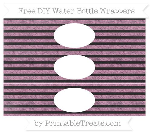 Free Pastel Bubblegum Pink Horizontal Striped Chalk Style DIY Water Bottle Wrappers