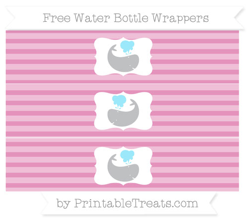 Free Pastel Bubblegum Pink Horizontal Striped Whale Water Bottle Wrappers