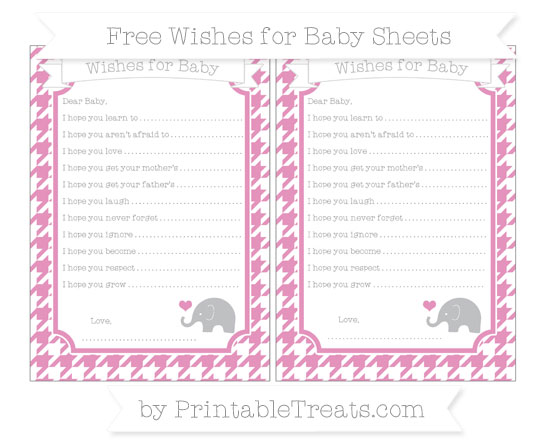 Free Pastel Bubblegum Pink Houndstooth Pattern Baby Elephant Wishes for Baby Sheets