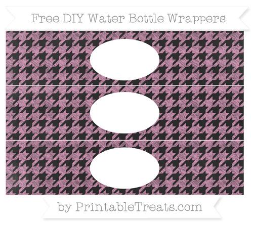 Free Pastel Bubblegum Pink Houndstooth Pattern Chalk Style DIY Water Bottle Wrappers