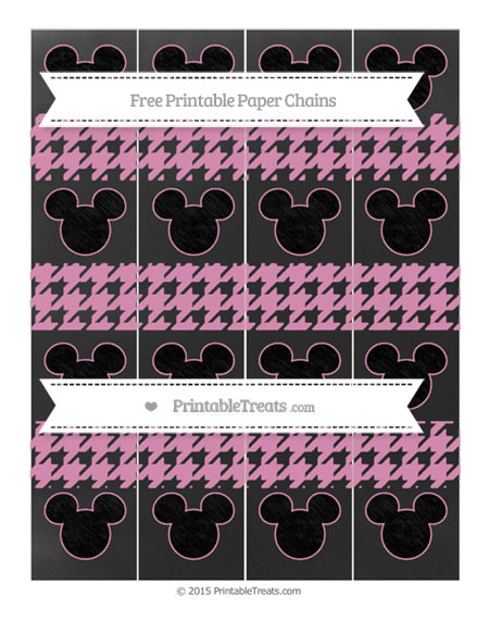 Free Pastel Bubblegum Pink Houndstooth Pattern Chalk Style Mickey Mouse Paper Chains