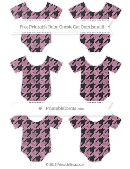 Free Pastel Bubblegum Pink Houndstooth Pattern Chalk Style Small Baby Onesie Cut Outs