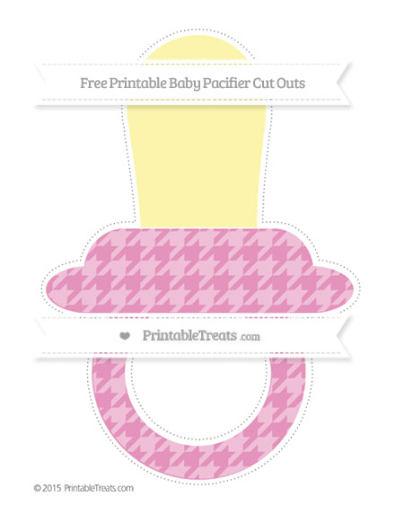 Free Pastel Bubblegum Pink Houndstooth Pattern Extra Large Baby Pacifier Cut Outs
