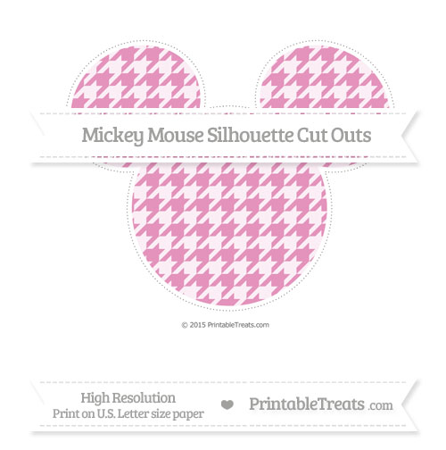 Free Pastel Bubblegum Pink Houndstooth Pattern Extra Large Mickey Mouse Silhouette Cut Outs