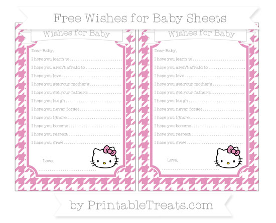 Free Pastel Bubblegum Pink Houndstooth Pattern Hello Kitty Wishes for Baby Sheets