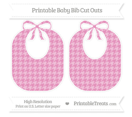 Free Pastel Bubblegum Pink Houndstooth Pattern Large Baby Bib Cut Outs