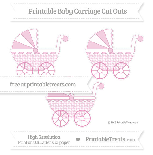 Free Pastel Bubblegum Pink Houndstooth Pattern Medium Baby Carriage Cut Outs