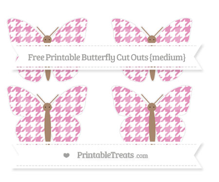 Free Pastel Bubblegum Pink Houndstooth Pattern Medium Butterfly Cut Outs