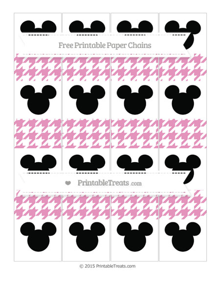 Free Pastel Bubblegum Pink Houndstooth Pattern Mickey Mouse Paper Chains