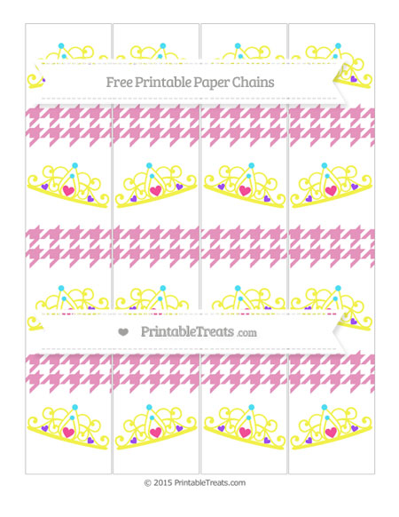Free Pastel Bubblegum Pink Houndstooth Pattern Princess Tiara Paper Chains