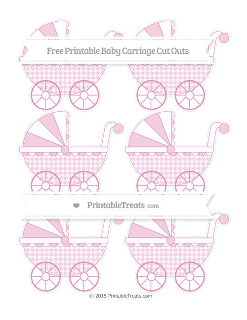 Free Pastel Bubblegum Pink Houndstooth Pattern Small Baby Carriage Cut Outs