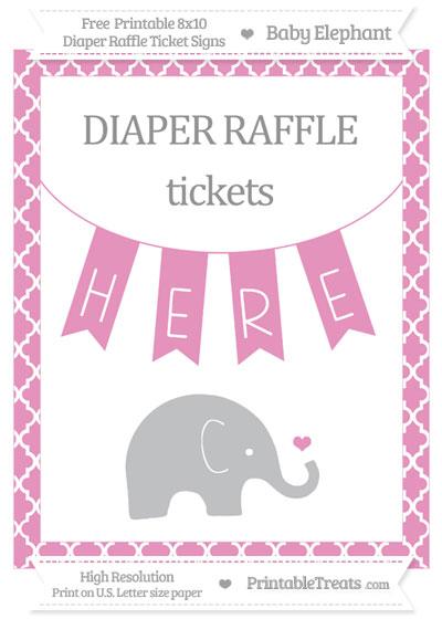 Free Pastel Bubblegum Pink Moroccan Tile Baby Elephant 8x10 Diaper Raffle Ticket Sign