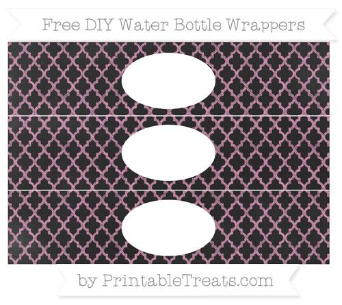 Free Pastel Bubblegum Pink Moroccan Tile Chalk Style DIY Water Bottle Wrappers