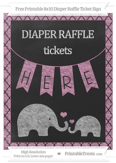 Free Pastel Bubblegum Pink Moroccan Tile Chalk Style Elephant 8x10 Diaper Raffle Ticket Sign