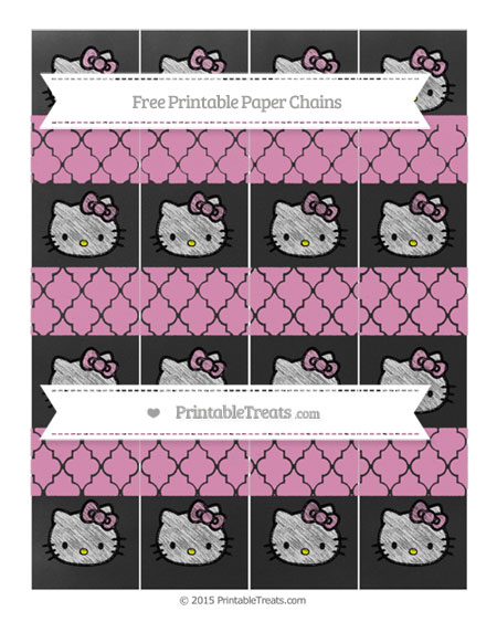 Free Pastel Bubblegum Pink Moroccan Tile Chalk Style Hello Kitty Paper Chains