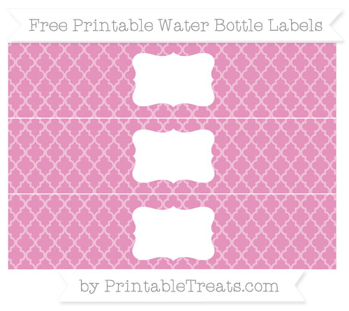 Free Pastel Bubblegum Pink Moroccan Tile Water Bottle Labels