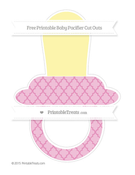 Free Pastel Bubblegum Pink Moroccan Tile Extra Large Baby Pacifier Cut Outs