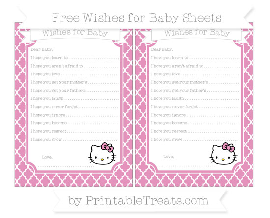 Free Pastel Bubblegum Pink Moroccan Tile Hello Kitty Wishes for Baby Sheets