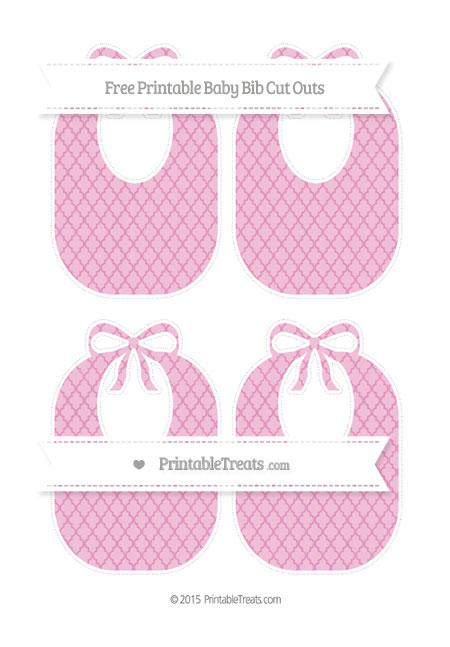 Free Pastel Bubblegum Pink Moroccan Tile Medium Baby Bib Cut Outs