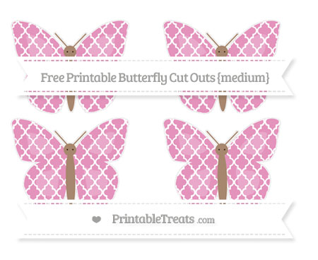 Free Pastel Bubblegum Pink Moroccan Tile Medium Butterfly Cut Outs